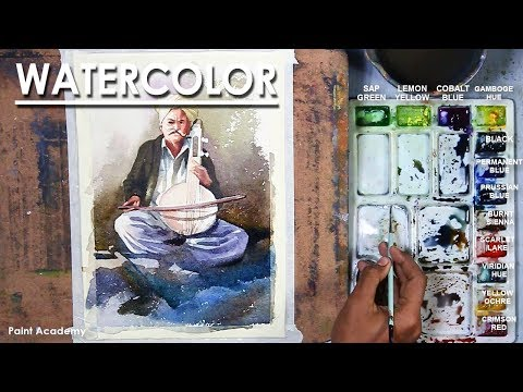 Watercolor Painting : The Musician playing Instrument | Rajasthani Street Musician playing Kamaicha