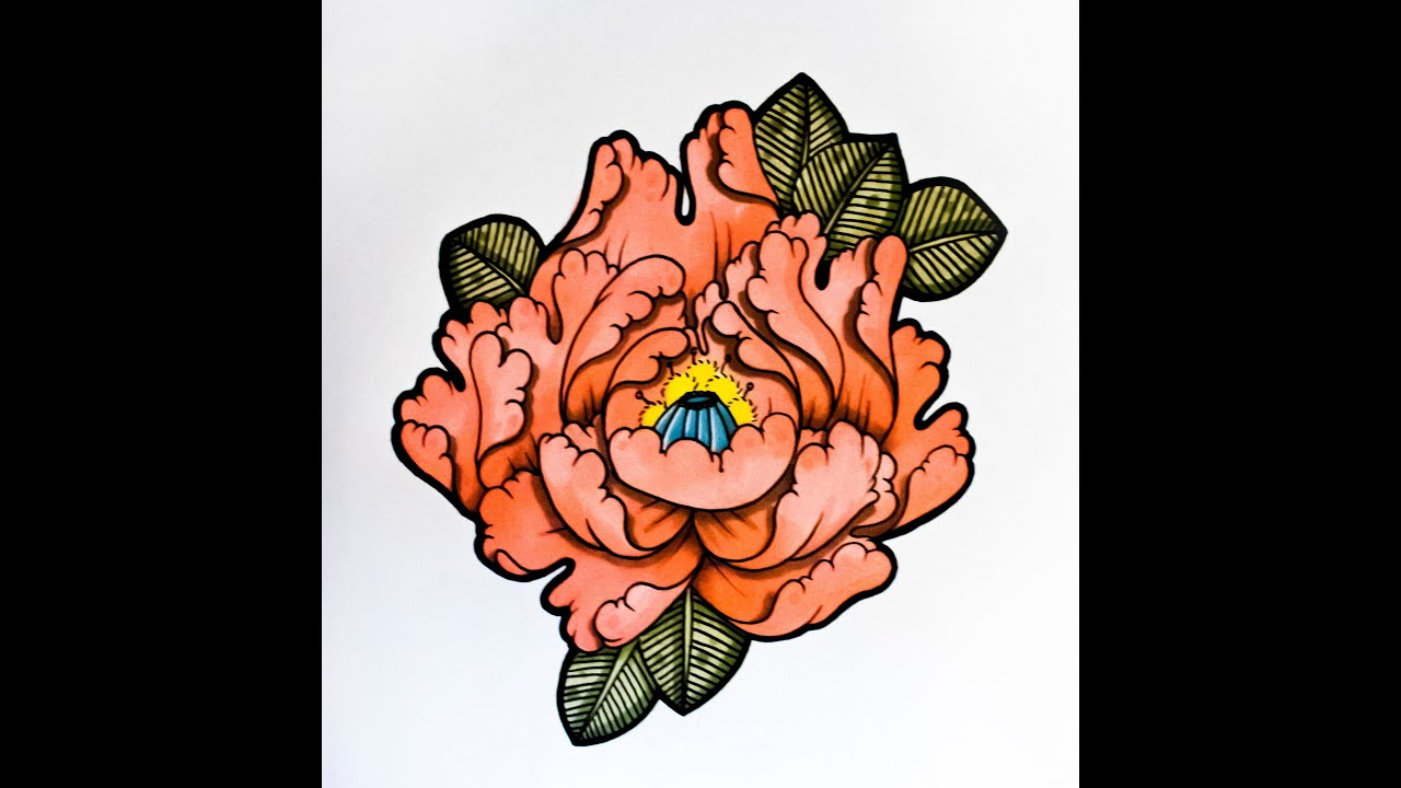 How To Draw A Flower Japanese Tattoo Style! By