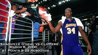 Shaquille O'Neal vs LA Clippers: March 6, 2000 Full Highlights- 61 points & 28 Rebounds