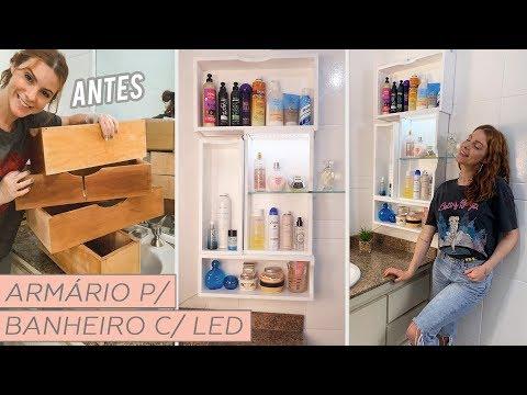 DIY ARMÁRIO Banheiro com Led (Transformando gavetas )