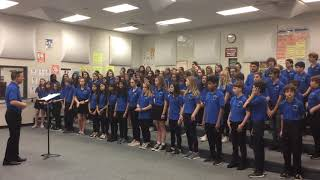 Henderson Middle School Chorus pre-contest vocal warm up room