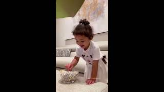 Baby waiting patiently for chocolate | Baby Challenge by Stormi and Kylie Jenner |