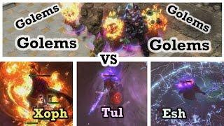 Golems vs Xoph, Tul, Esh breach lords - Path of exile