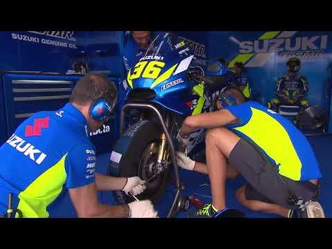 Team Suzuki Ecstar prepare for the HJC Helmets Motorrad Grand Prix Deutschland