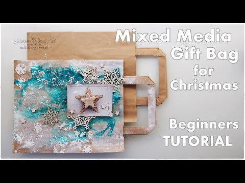 Mixed Media Gift Bag Tutorial for Christmas ♡ Maremi's Small Art ♡