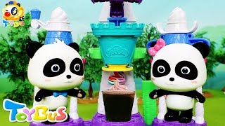 Baby Panda Makes A Big Cola Ice Cream | Play Doh Ice Cream, Pizza, Cake | Cooking Video | ToyBus
