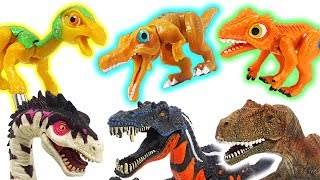 Dino Mecard tiny dinosaur battle Suchomimus, Deltadromeus,Therizinosaurus! Go! - DuDuPopTOY