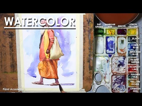 Watercolor Figure Painting : A Composition on Monk