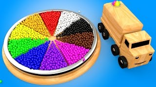 Wooden Base Color Balls Truck Toys to Learn Colors for Children - 3D Kids Learning Videos