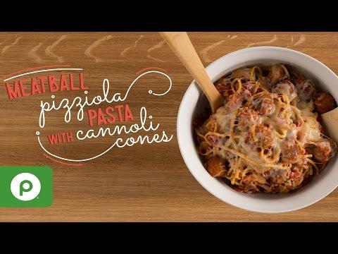 Meatball Pizziola Pasta with Cannoli Cones. A Publix Aprons recipe.