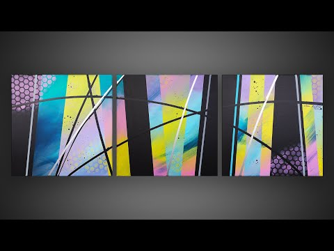 Easy Abstract Painting with masking tape | Fun & Satisfying | Habia