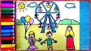 رسم العيد ، تعليم رسم عيد الفطر للأطفال خطوة بخطوة ، رسم الملاهي ...