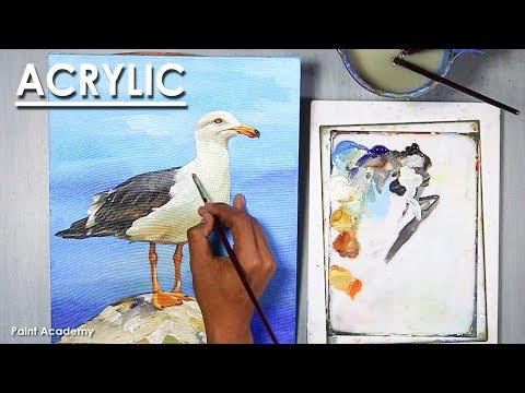 Acrylic Painting : How to Paint Sea Gull Bird step by step