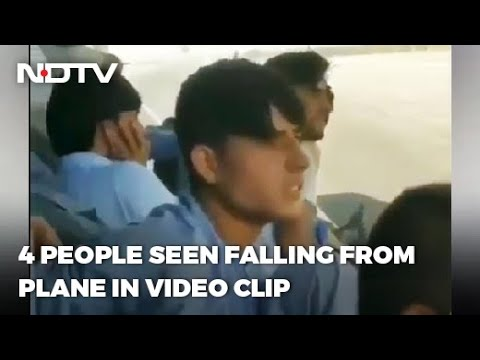Selfie video of Afghan people sitting on US plane wing prior to fall off mid-air