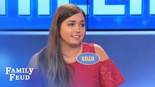OMG. Kellie STUNS Steve!   Family Feud