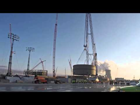 The 1.9 million-pound, or nearly 1,000 ton, lower ring for Vogtle Unit 4 is placed on Friday, Dec. 11, 2015. The lower ring is the first of three containment vessel rings to be placed for the unit. The new units at Plant Vogtle are among the first new nuclear units to be built in the United States in more than three decades.