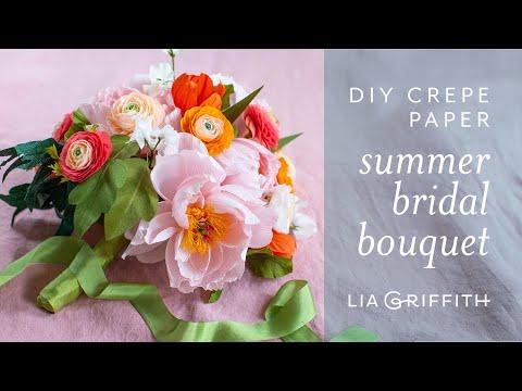 How To Arrange a Crepe Paper Spring Bridal Bouquet