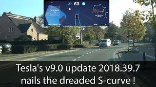 AutoPilot 2.0: V9 (2018.39.7) finally nails the S-curve! - Testing the Tesla