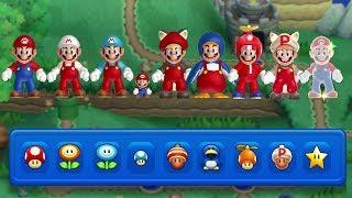 New Super Mario Bros. U - All Power-Ups (2 Player Gameplay)