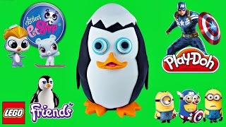 GIANT PLAY DOH SURPRISE EGG Penguins of Madagascar Private