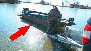 Ice Fishing with a BOAT!!! (Gone Wrong)