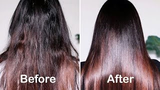 HOW TO GET SMOOTH, SHINY & SILKY HAIR WITH 1 USE | DIY HAIR MASK FOR DAMAGED HAIR