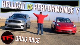 Can A Tesla Model Y Performance BEAT The Mighty Dodge Durango Hellcat In A Drag Race?