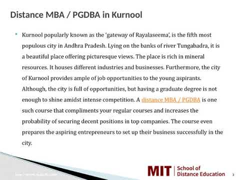 Distance Management Courses   Correspondence MBA   Distance MBA in Kurnool