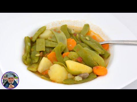 Menú completo - Judías verdes con tomate y morcilla asada