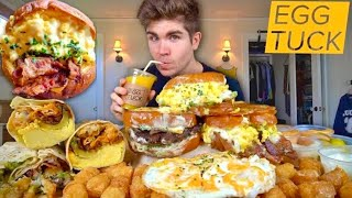 Eating the BEST Egg Sandwiches and LOADED Breakfast Burritos + Tots Mukbang ..ROUND 2!