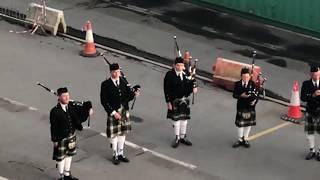 Disney Magic Cruise ship departs Greenock, Scotland to pipes and drums serenade