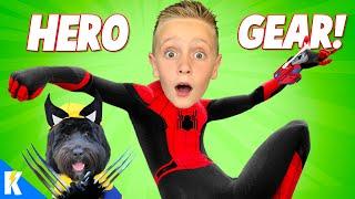 Spider-man & Puppy Wolverine! (Super Hero Gear Test SuperCut) KIDCITY