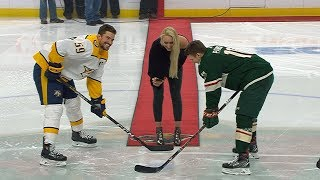 Lindsey Vonn drops the puck before Wild take on Predators
