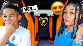 Picking up Kameiro's Crush in a Lamborghini | FamousTubeFamily