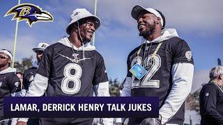Lamar Jackson Explains His Juke Moves to Derrick Henry   Baltimore Ravens