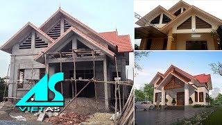 Toàn Cảnh Thực Tế: Thi Công Biệt Thự 1 Tầng Mái Thái 2 Phòng Ngủ 900 triệu Ở Hưng Yên