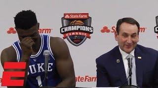 Zion Williamson, R.J. Barrett and Coach K talk huge win vs. Kentucky | CBB Sound
