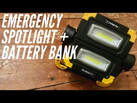 RUNACC Emergency Spotlight + Battery Bank: Light for Car, Home, Emergency, Camping, and More