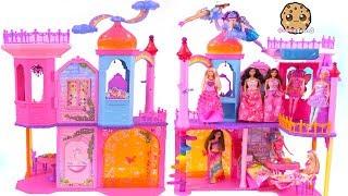 Giant Rainbow Castle ! Barbie Princess + Fairy Tea Party - Toy Video