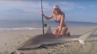 MONSTER SHARK Fishing: Outer Banks, North Carolina Shark Landed on Beach & HOW TO