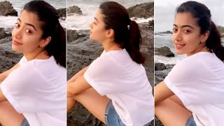 Video: Actress Rashmika Mandanna enjoys waves crashing at ..