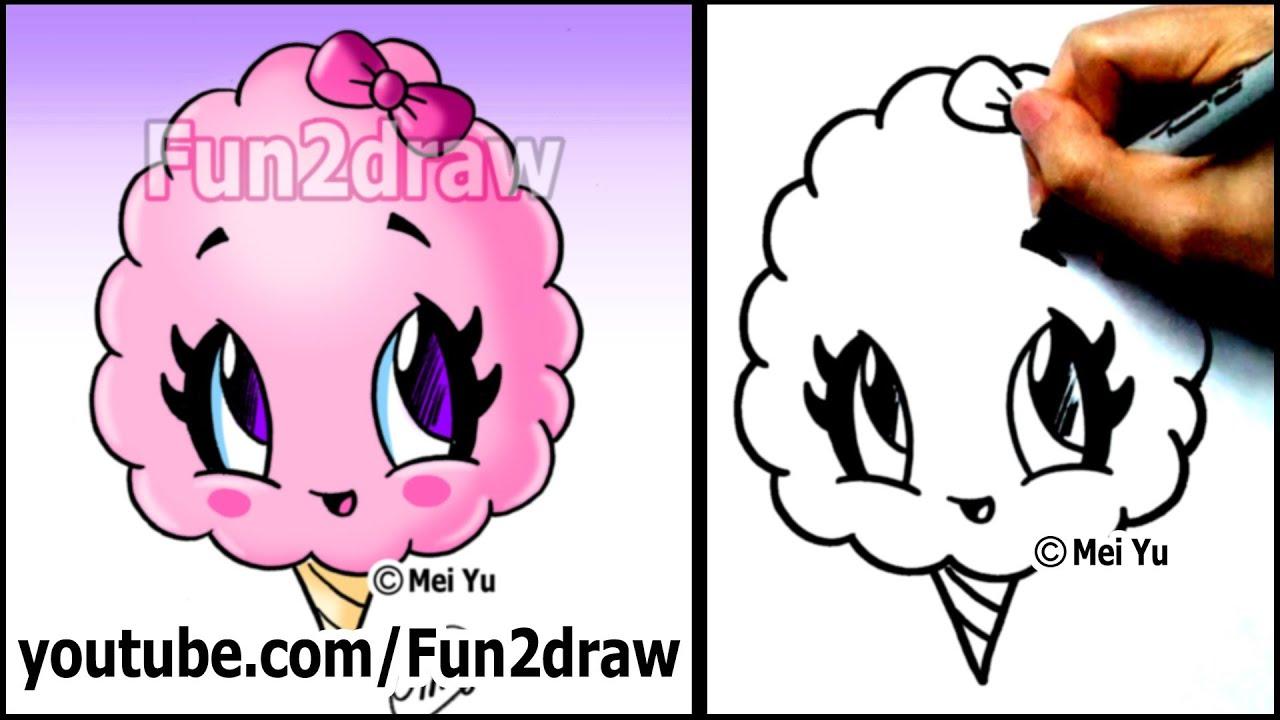 Cotton Candy Treat - Summer Snacks - Cartoon Art Drawing ...