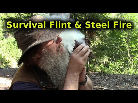 Survival Flint And Steel Fire Lighting Method