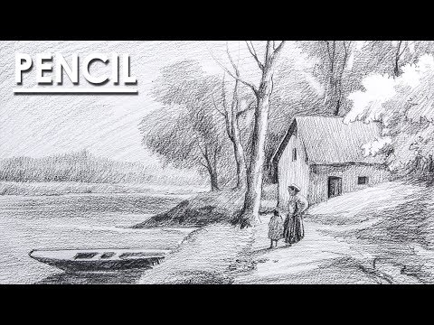 Landscape Drawing in Pencil | Mother and daughter in the ferry ghat step by step DRAWING & SHADING