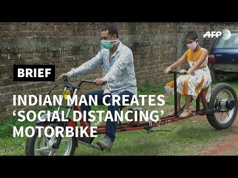 Indian mechanic invents 'social distancing' motorbike | AFP photo