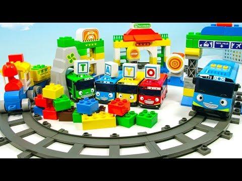 옥스포드 꼬마버스 타요블럭으로 터널이랑 기차도 만들고 신나게 레일을 달려보아요