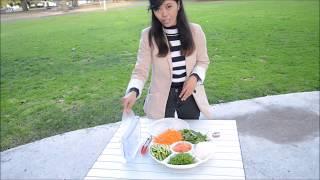 Aenni warmly presents in Indonesian to make Smoked Salmon Rice Paper Roll (Rolling Fun)