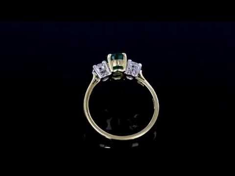 Browns Family Jewellers Emerald And Diamond Three Stone Ring