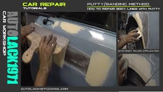 Car repair (putty sanding method)/Aplicación de masilla, lijado poliester