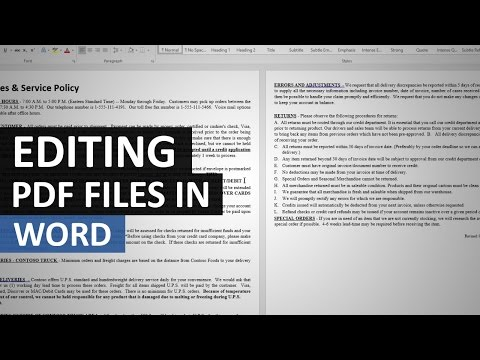 Opening and editing PDFs in Word